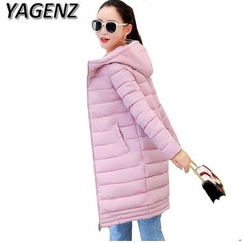 Winter women Jacket Coats 2018 Fashion Slim Medium long Down cotton Hooded Overcoat Thick Warm Jacket Student Coat Lady Clothing