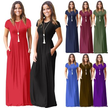 Women summer dress short sleeve o neck Solid Color Pocket Dress Casual Long Maxi Party Summer Beach Pocket dress