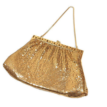 vintage 1940s WHITING & DAVIS mesh purse / gold / metallic metal / chain strap handbag / women's vintage purse