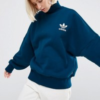 adidas Originals High Neck Sweatshirt With Trefoil Logo at asos.com