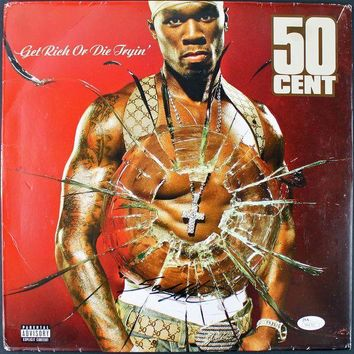 DCCKJNG 50 Cent Signed Autographed 'Get Rich or Die Trying' Record Album (JSA COA)