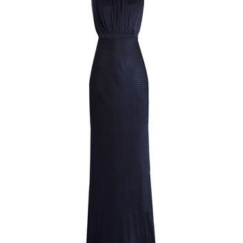 Fleur velvet-devoré high-neck gown | Saloni | MATCHESFASHION.COM UK