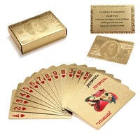 Novelty Gold Foil Plated Poker Playing Cards w/ 52 Cards & 2 Jokers