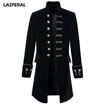 LASPERAL Fashion Goth Steampunk Jacket Men Long Sleeve Jackets New Streetwear Hip Hop Victorian Velet Men Clothes 2018