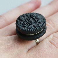 Oreo Biscuit Ring, Fimo, Polymer Clay