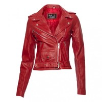 FUNKYTOWN Red Biker Jacket