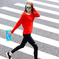 SIMPLE - Women Fashionable Long Sleeve Round Necked Top a10984