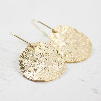 Gold Disc Earrings - textured wavy golden dangles for a simple everyday wear