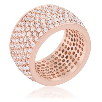 WildKlass Wide Pave Cubic Zirconia Rose Gold Band Ring