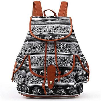 Black Elephant Canvas Backpack Casual School Bag Travel Daypack