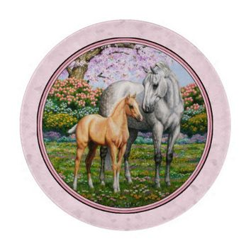 Quarter Horse Mare and Foal Pink Cutting Board