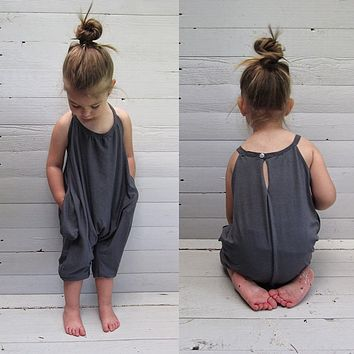 toddler kid baby girl summer strap halter overall sleeveless overall grey clothes outfits