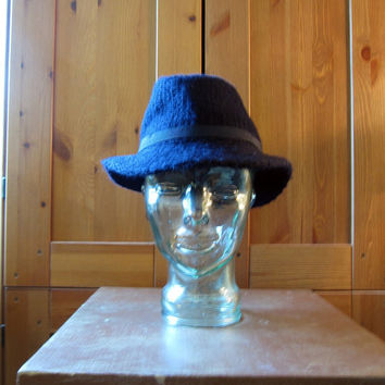 Vintage 70s Navy Blue Wool Fedora Hat by ChatteJolie on Etsy