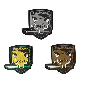Metal Gear Solid  Fox Hound  Patches Special Force Group patch PVC militaires hook BACK tactical patches morale for coat vest