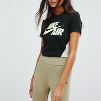 Nike Cropped T-Shirt In Black And Neon at asos.com