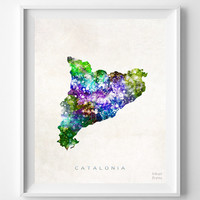 Catalonia, Spain, Map, Print, Watercolor, Home Town, Poster, Country, Wall Decor, Painting, Bedroom, Living Room, World Map [NO 1255]
