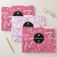 White and Black Zigzags on Pink File Folder