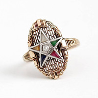 Diamond Star Ring - Vintage 14k Rosy Yellow Gold Order of Eastern Star - Size 8 1/4 OES Filigree Art Deco Colorful Stone Shield Fine Jewelry