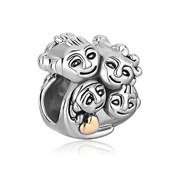 CharmsStory Family Mother Daughter Dad Son Charm Beads For Bracelets