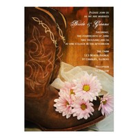Pink Daisies and Boots Country Wedding Invitation from Zazzle.com