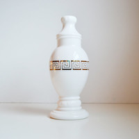 Vintage Apothecary Jar Milk Glass Jar With Gold Greek Keys Design Home Décor Roman and Greek Style
