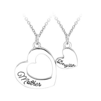 Heart Mother Daughter Pendant Necklace