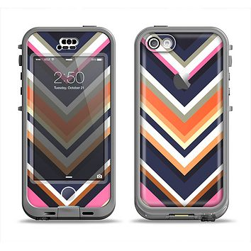 The Solid Pink & Blue Colored Chevron Pattern Apple iPhone 5c LifeProof Nuud Case Skin Set