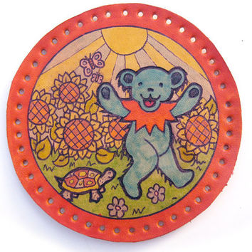 Sew on patch, upcycled leather, Grateful Dead dancing bear, turtle, sunflowers, hand drawn, coated with lacquer, original deadhead art
