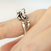 Adjustable Elephant Animal Rings/ BIg Horn Elephant Ring Women's Teen's Retro Burnished Jewelry Black Crystal Wrap Ring