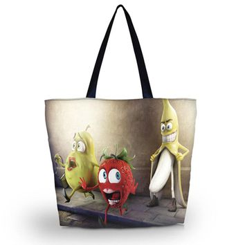 New Soft Shopping Bag Womens Girl's Shopping Tote Lady HandBag Utility shoulder Bag Zip Pocket Rude Fruit Foldable Bag