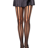 BLACK SHEER OPAQUE VERTICAL STRIPES PANTYHOSE