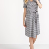 Essentials - Striped Wrap Maternity Robe | Thyme Maternity