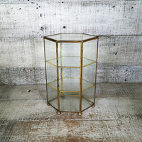 Glass and Brass Display Case Curio Table Cabinet Glass Display Cases Hollywood Regency Display Case Jewelry Display Box Trinket Display Case
