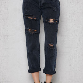 PacSun Idol Black Ripped Boyfriend Jeans at PacSun.com