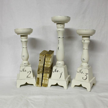 Tall Farmhouse Candle Holders - Vintage Candlesticks - Antique White - Farmhouse Antique - Vintage Typography - Chippy White - Pillar Candle
