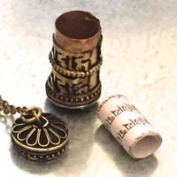 Prayer Locket Necklace, Prayer Wheel, Tibetan Jewelry, Bohemian Necklace, Long Layered Necklace