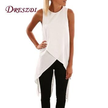 Dreszdi Summer Casual Cross Black Tank Top Women High Split Back Sleeveless Blouse Cool Hi-Low Hem Ladies White Tops S-XXL