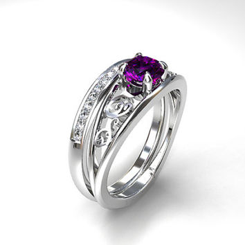 Engagement ring set, Amethyst engagement, diamond wedding, purple engagement, solitaire, filigree, purple engagement, eternity, diamond