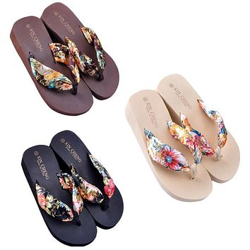 Women Slippers Bohemia Style Floral Beach Sandals Shoes Wedge Platform Thongs Slippers Flip Flops Pantofole Donna #5308