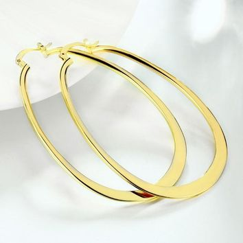 Golden NYC 18K Gold Plated Large Flat Oval Hoop Earring