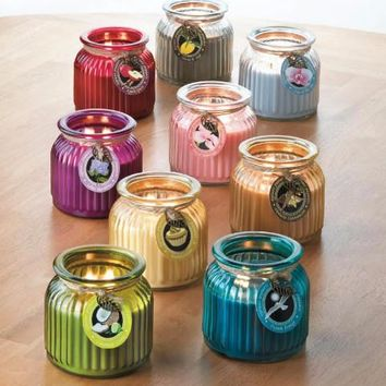 Candle Jars-Ribbed Glass Jars with Lids:  8 Long Lasting Scents
