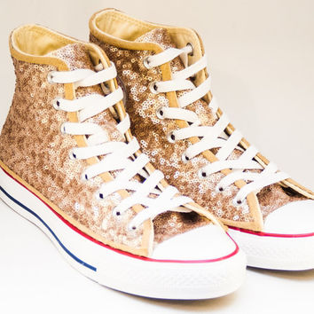 Sequin Champagne Gold Canvas Converse Canvas Hi Top Sneakers Tennis Shoes