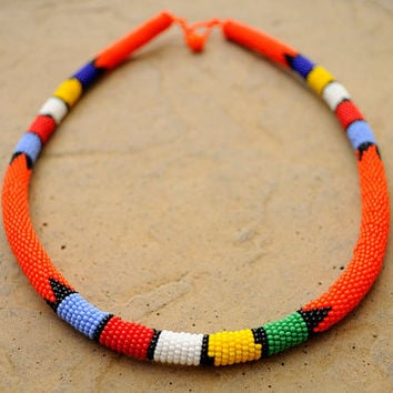 Beaded Orange Rope Necklace,Beaded African Headpiece,Orange African Necklace,Zulu Rope Necklace,Tribal African Accesories,