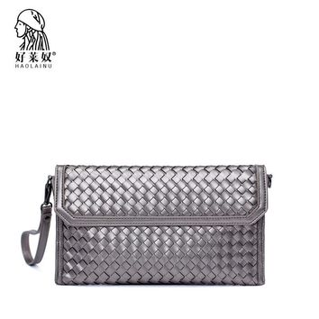 HAOLAINU New Arrival Day Clutches Bags Purse Clutch Handbag Fashion Weave Shoulder Bag Small Chain Women Casual Cross Body Bag