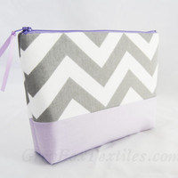 Gray chevron cosmetic case, clutch, gadget bag, makeup or accessory tote with light purple accent
