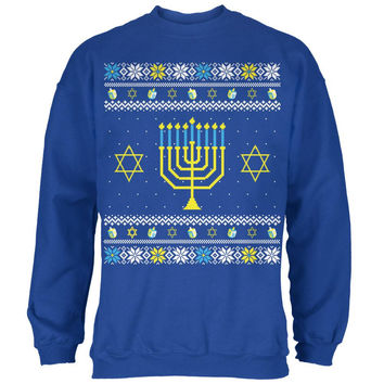 Menorah Ugly Hanukkah Sweater Royal Adult Sweatshirt