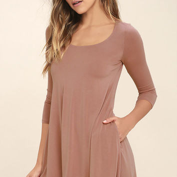 Twirl Power Dark Blush Swing Dress