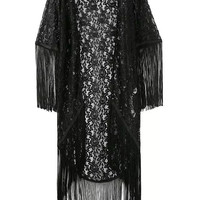 Stylish Black Tassels Long Sleeve Chiffon Tops Scarf Jacket [5013167492]