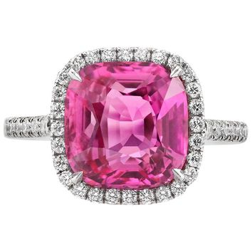 4.88 Carat Untreated Pink Sapphire Diamond Platinum Ring