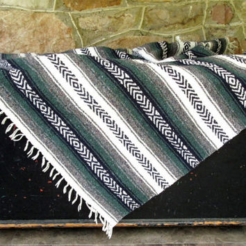 serape - handwoven throw blanket - cabin blanket or rug - vintage - vtg - saltillo - handwoven ethnic blanket- Mexican